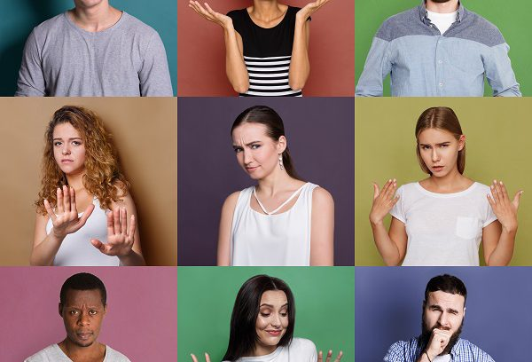 Collage of confused multiethnic diverse people at colorful studio backgrounds